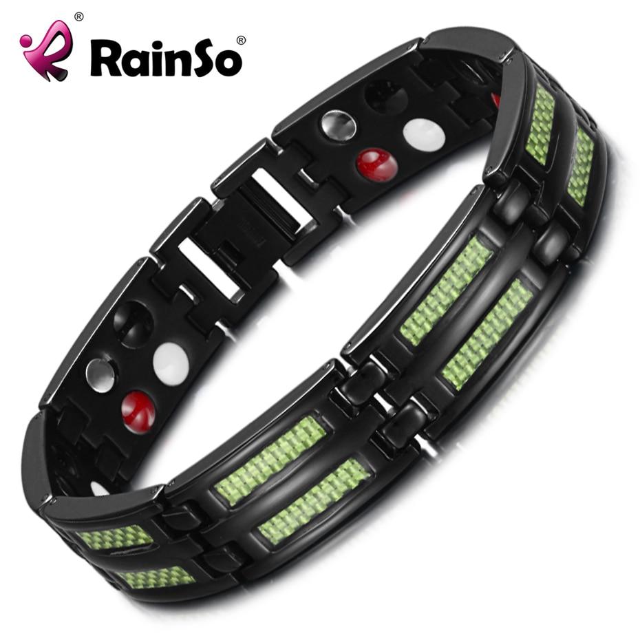 RainSo titanio pulseras brazaletes 4 elementos de salud germanio magnético pulseras moda joyería encanto pulsera para la artritis
