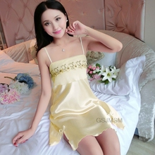 Womens lace temptation Sexy Lingerie Ladies Silk Satin Nightgown Erotic Lace nighties for women Sleepwear