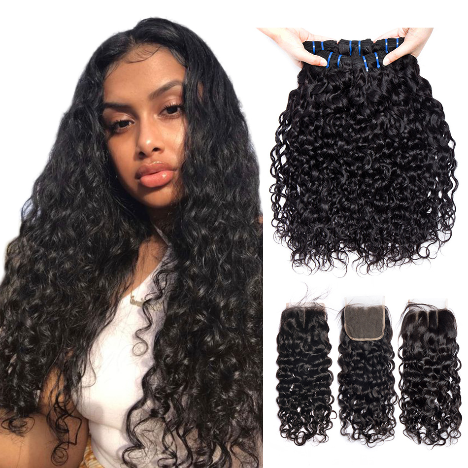 Alibele Indian Hair Bundles With Closure 4 5 Pcs Lot Non Remy Water Wave Human Hair