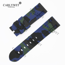 CARLYWET 24mm New Camo Black Blue Green Waterproof Silicone Rubber Replacement Wrist Watch Band Strap Belt for Brand