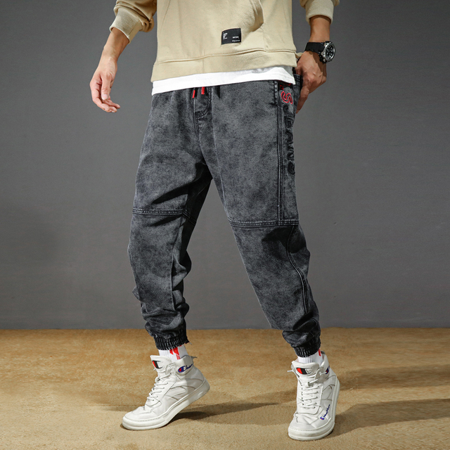 Men's Jeans Plus Size Stretchy Loose Tapered Harem Jeans Cotton Breathable Denim Jeans Baggy Jogger Casual Trousers 42 Jeans 3