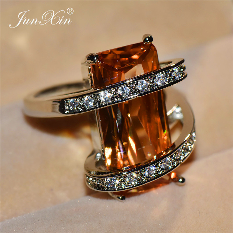 Unique Style Male Female Big Geometric Ring Fashion Green Champagne Stone Wedding Rings Promise 925 Silver Engagement Ring