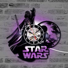 Star War Vinyl Record Wall Clock Gift for Friend Classic 7 Colors Changing LED Wall Clock