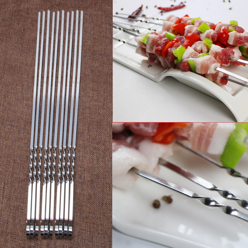 10 Pcs Stainless Steel Flat Meat Skewers For Outdoor BBQ Barbecue C42