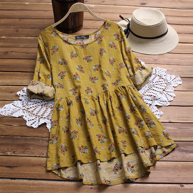 ea5a3726716 2018 ZANZEA Summer Boho Women O Neck Long Sleeve Blouse Casual Vintage  Floral Print Cotton Linen