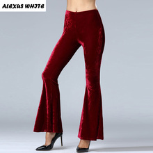 2017 High Quality Women's Autumn Corduroy Boot Cut Pants Female Mid Waist Business casual Candy Color flares Corduroy Trouser