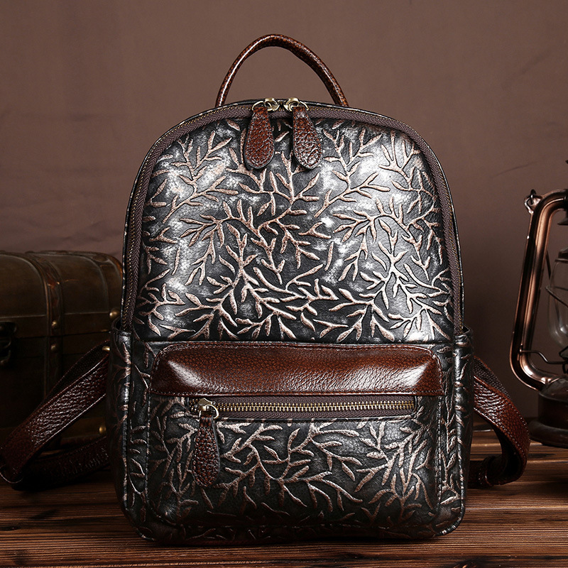 AETOO  Handmade wiping vintage Embossed silver flower backpack women real leather cow leather backpack casual backpacksAETOO  Handmade wiping vintage Embossed silver flower backpack women real leather cow leather backpack casual backpacks