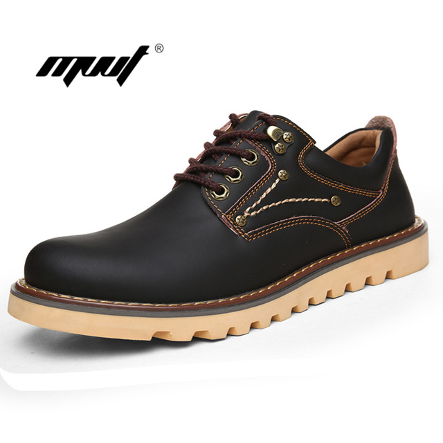 Full Grain Leather Men Work Safety Boots Spring Casual shoes Lace up Oxfords shoes Outdoor waterproof Men Leather Shoes
