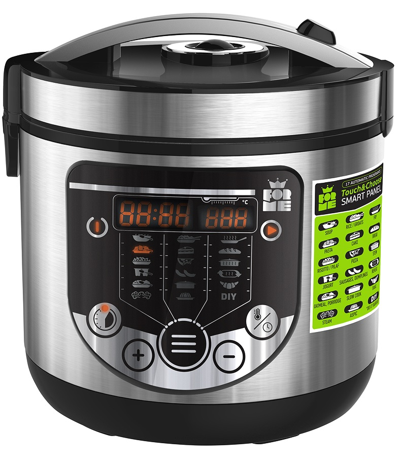 Cuiseur à riz 5L Capacité 860 W Fonction maintien au chaud cuve intérieure mesure cuiller à riz Cuiseur vapeur Boîtier en aluminium brossé 17 programmes ForMe FMC-5171