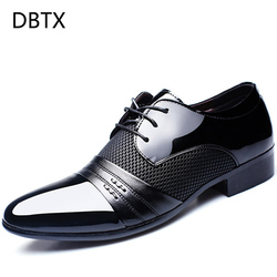 DBTX Hollow Outs Breathable Men Formal Shoes Pointed Toe Patent Leather Oxford Shoes For Men Dress Shoes Business