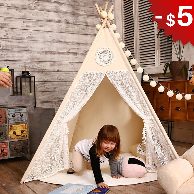 Teepee Tent for Kids Play Tent Toys Indoor and Outdoor Children Indian Tipi Tent