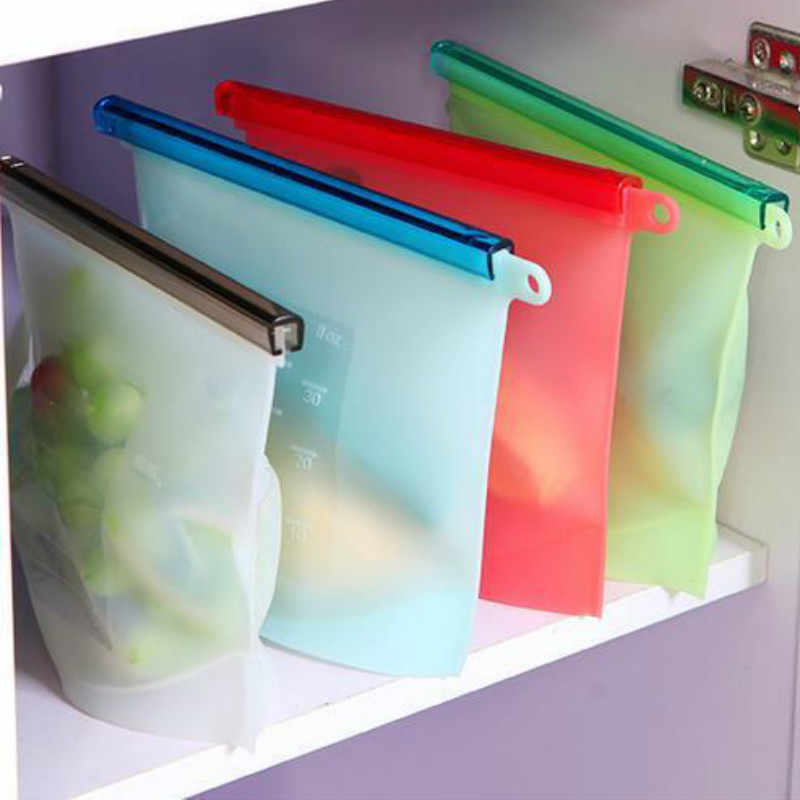 Reusable Refrigerator Fresh Bags Kitchen Food Sealing Storage Bag Home Food Grade Silicone Fruit Meat Ziplock Kitchen Organizer