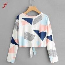 FEITONG Women's Shirt Casual Printed Geometric Lingge Bowl T Shirts Long Sleeve O-Neck Tops Blusa Fashion Autumn Clothing 2017