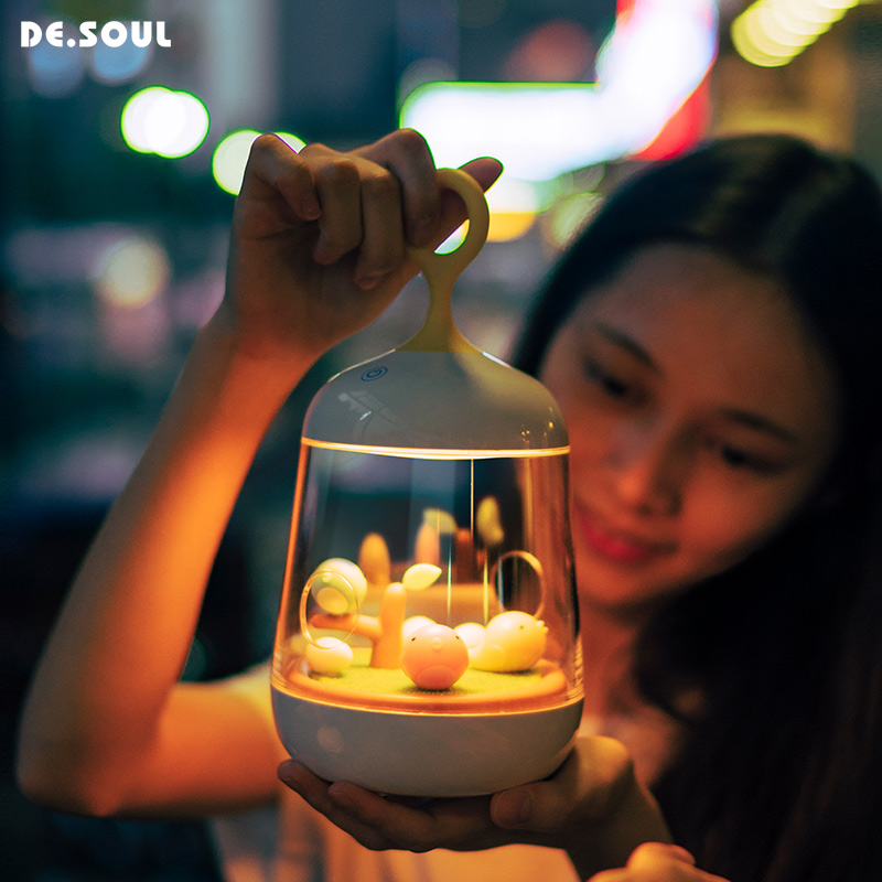 DE.SOUL Night Lights LED Touch Night Light Kids Night Lamps Bedside Lamp Dimmable Automatic Colorful Change Music Rechargeable