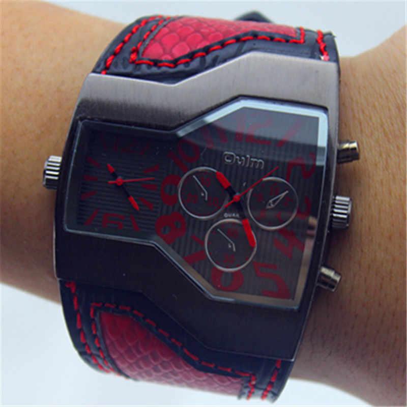 مصمم أزياء العلامة التجارية OULM رجالي اليابان Movt ساعات كوارتز عادية الوقت المزدوج وجه كبير حلقة من جلد ساعة Reloj Hombre Grande