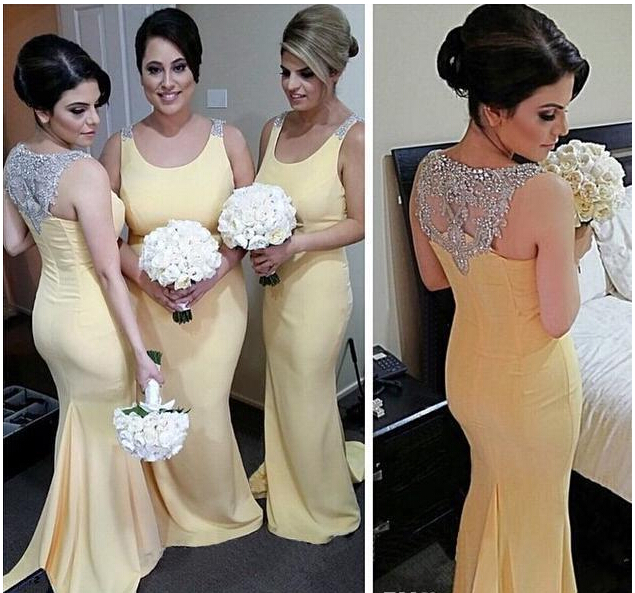 2017 Yellow Bridal Mermaid Bridesmaid Dresses Long Scoop Neck Beaded Back Country Wedding Guest Dress Sweep