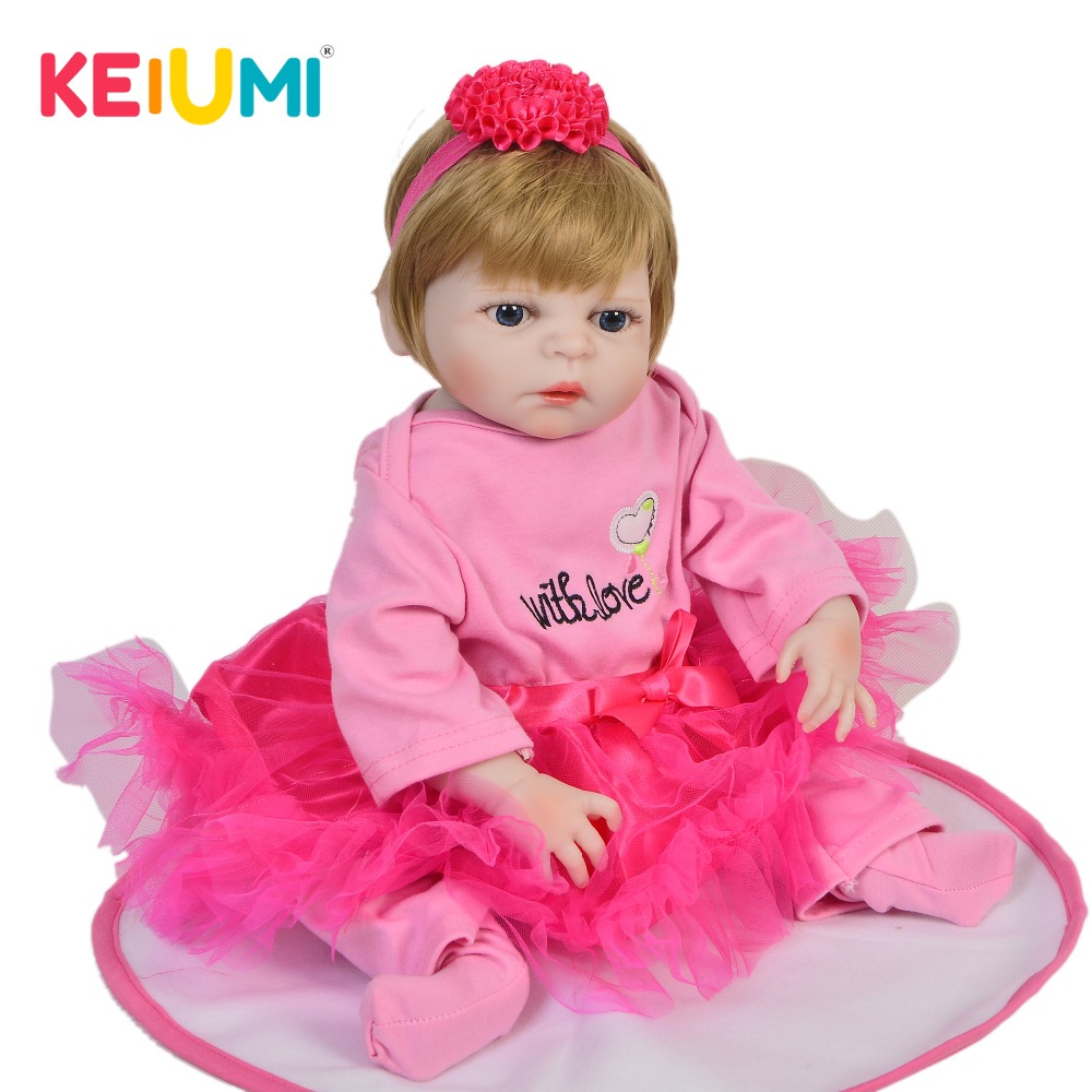 KEIUMI Lovely 48 cm Waterproof Vinyl Babies Reborn Realistic Princess Full Silicone Reborn Baby Doll Toy
