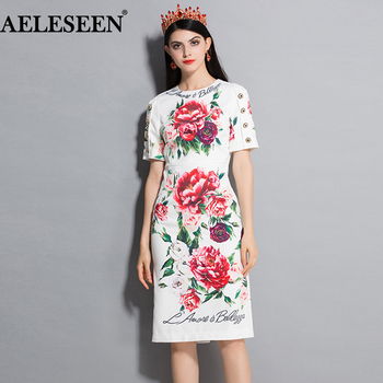 AELESEEN Luxury Peony Printed Summer Elegant Dresses High Quality Fashion Short Sleeve 2018 Runway Keen-Length Career Dress peony