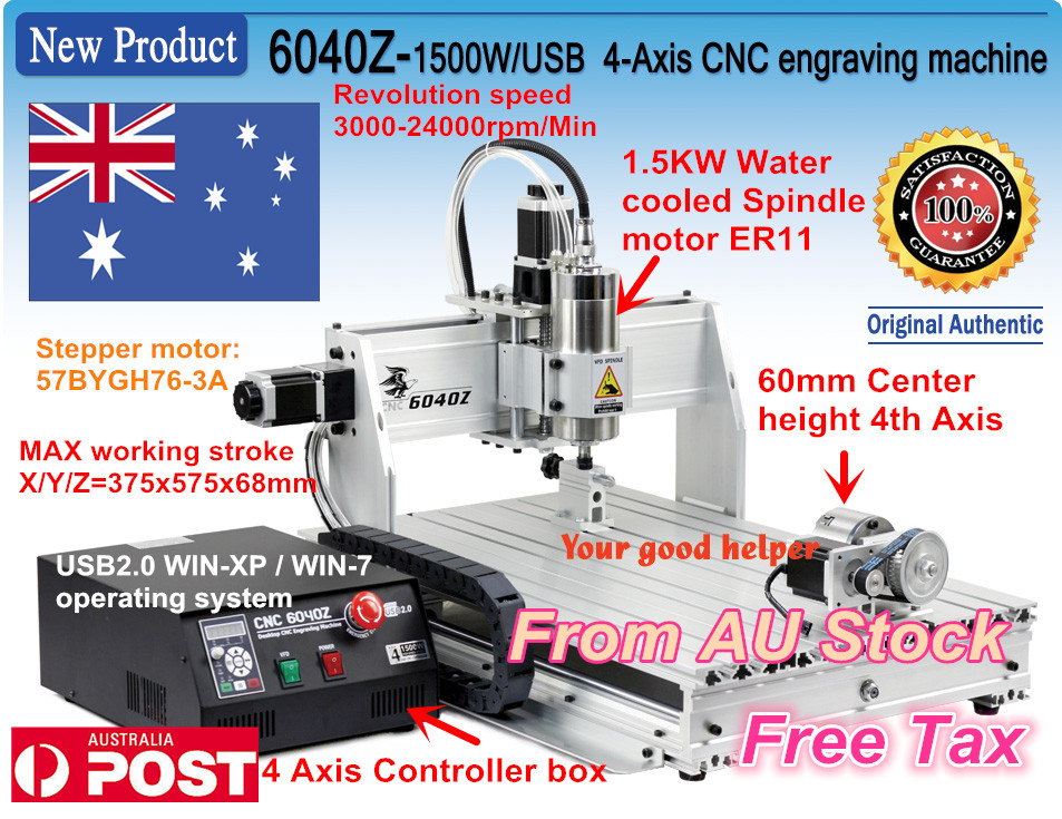 цена на EU,AUS,Free TAX 4-axis 6040Z 1500w 1.5KW USB port USB Mahc3 CNC Router / Milling Machine/Engraver Engraving Machine 220V/AC