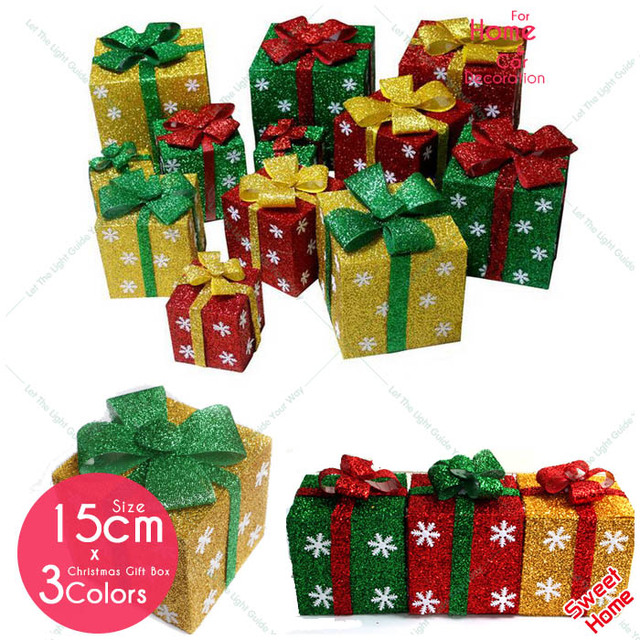 new christmas decoration supply 3d square gift box for home market window ornament laser light led - Christmas Gift Box Decorations