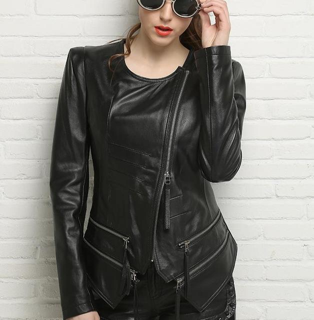 Весна 2017 черный круглый воротник мотоцикл натуральной кожи куртка женщин овчины куртки и пальто тонкий косой молнией короткая