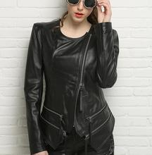 Spring 2017 black round collar motorcycle genuine leather jacket womens sheepskin jackets and coats slim oblique zipper short
