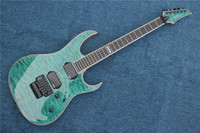 Factory custom green body 24 frets floyd rose electric guitar with HH pickups,black hardware,can be customized