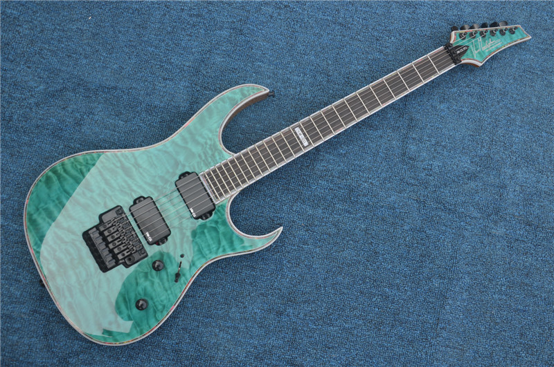 Factory custom green body 24 frets floyd rose electric guitar with HH pickups,black hardware,can be customized free shipping custom paul black 3 pickups golden hardware electric guitar with bigsby