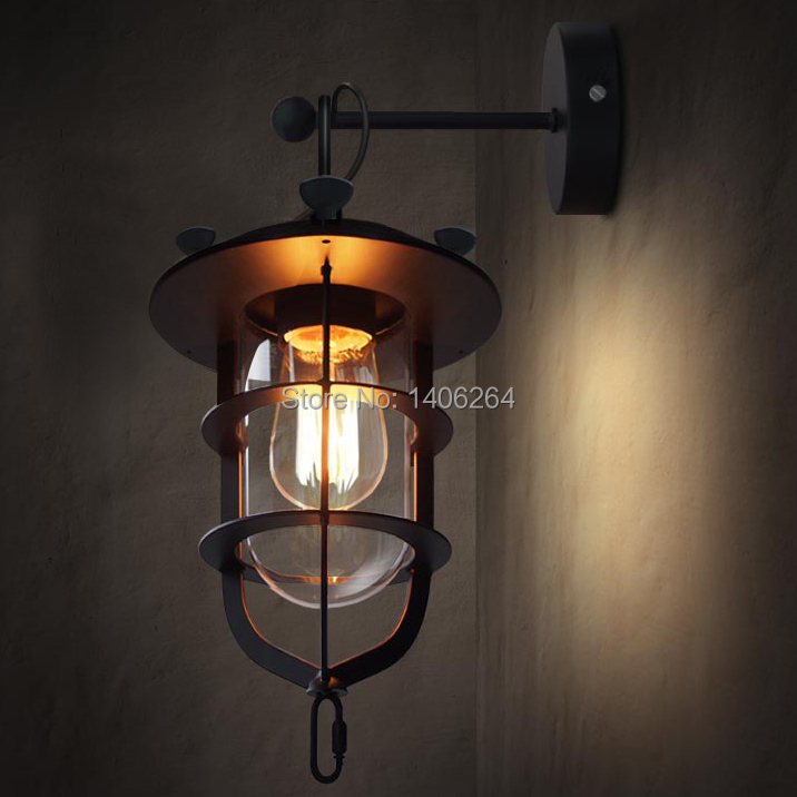 Loft American Country Retro Wrought Iron Glass Wall Lamp Lights for Cafe Bar Shop Hall Store Club Bedside Corridor Gallery Black vintage industrial edison glass bottle wall lamp loft retro wall light bedroom aisle cafe bar store hall bedside hall lighting