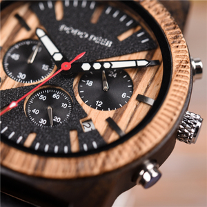 Image 4 - DODO DEER Stainless Steel Wood Watch Men Calendar Timepieces Chronograph Quartz Watches relogio masculino In Wooden Boxes OEM