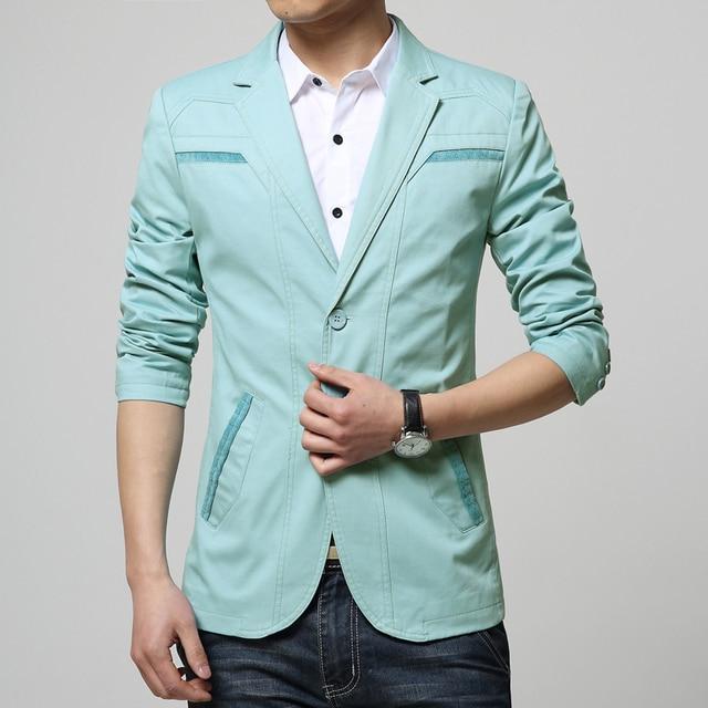 2017 Moda Con Estilo Patchwork Blazers Slim Fit Mens Suit Blazer de Dos Botones Chaqueta de Los Hombres Outwear Chaquetas de la Capa Tops de Algodón Suave