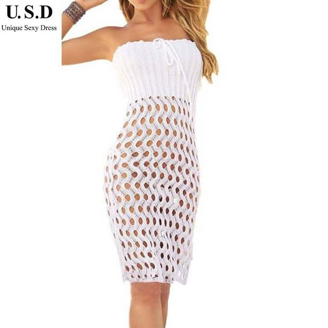 Fresh New Women Beach Wrap Dress Sexy White Beach cover up Crochet  IW72