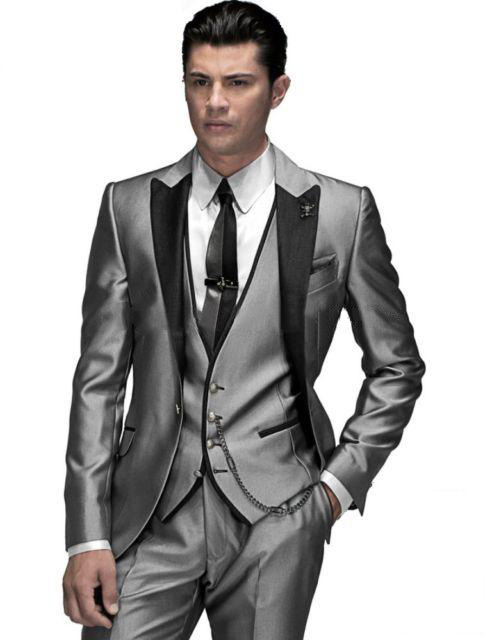 New Arrival Silver Gray Groom Tuxedos Groomsmen Mens Wedding Suits Dinner Party Best Man Blazer (Jacket+Pants+Vest+Tie) NO:1465