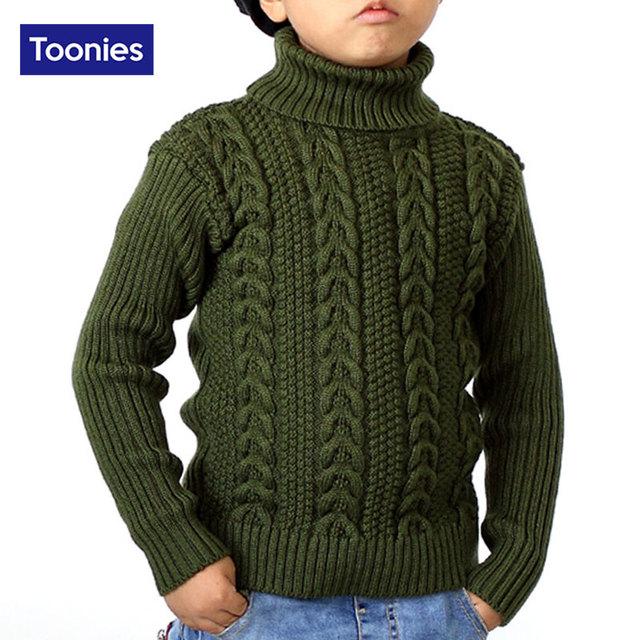 2016 Novos Meninos de Inverno Pulôver de Malha Camisola de Gola Alta Manga Completo Camisola Do Natal Quente Outwear Camisolas Roupa Das Crianças