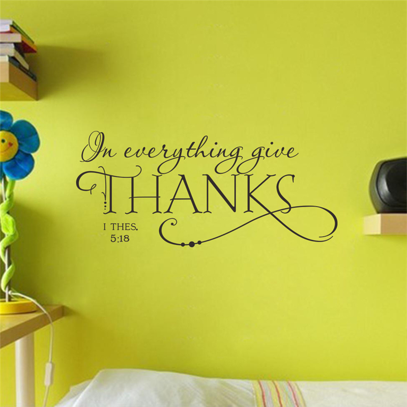 Buy In Everything Give Thanks Christian Quotes Wall Stickers Home Decoration