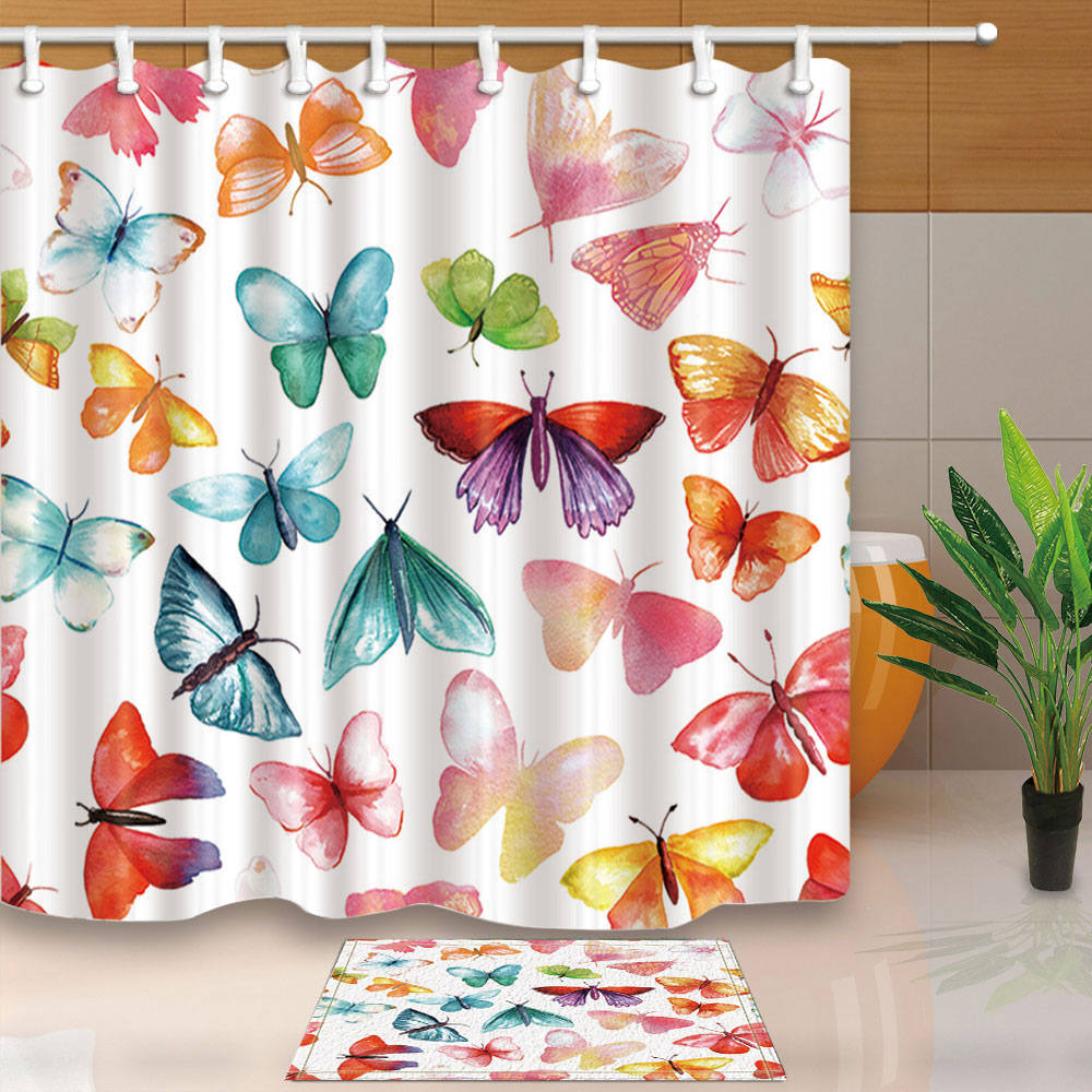 Fabric Shower Curtain Colored Butterflies On White Bathroom Curtains Home Decor High Quality Waterproof Mouldproof With Hooks