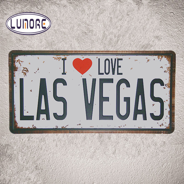 Car License Plates Number I Love Las Vegas Tin Metal Sign Vintage Plate Home Wall Decor