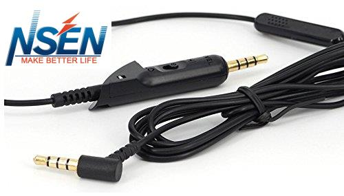 Replacement Audio Cable Cord With Inline Mic and Volume Control for Bose QuietComfort 15 QC 15 Noise Cancelling Headphones