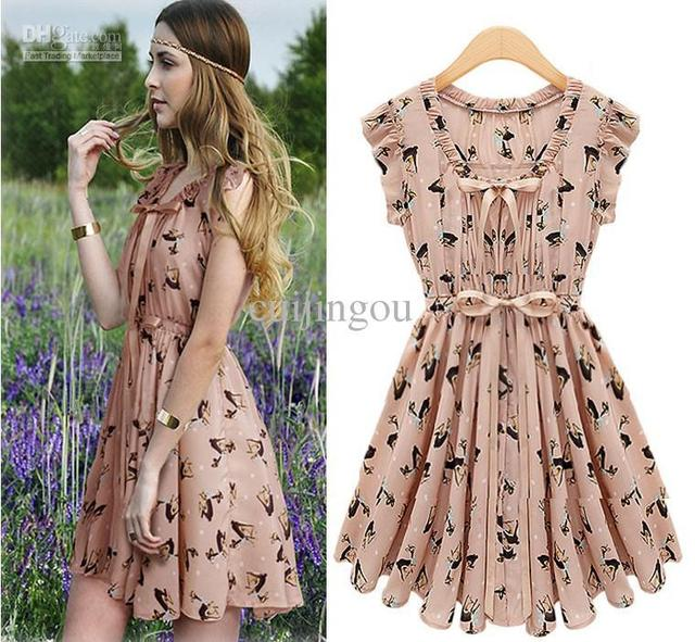 2134ad758983 Hot Western Women s Chiffon Super Star Moose Pattern V-Neck Dress Lady s  Sleeveless Ladies  Dress