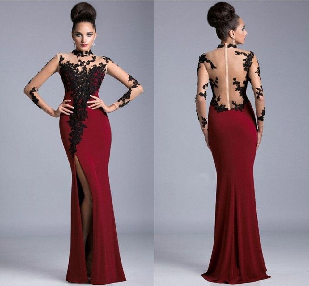 2017 Black Red High Neck Maroon Prom Dress Sexy Slit Side Sheer Back Prom Mermaid Dress Long