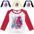 2017 Nuevo Estilo de Las Muchachas Trolls Camiseta de Manga Larga Pullover Niños Ropa de Algodón Tops Disfraces de Dibujos Animados Otoño Adolescentes Sudaderas