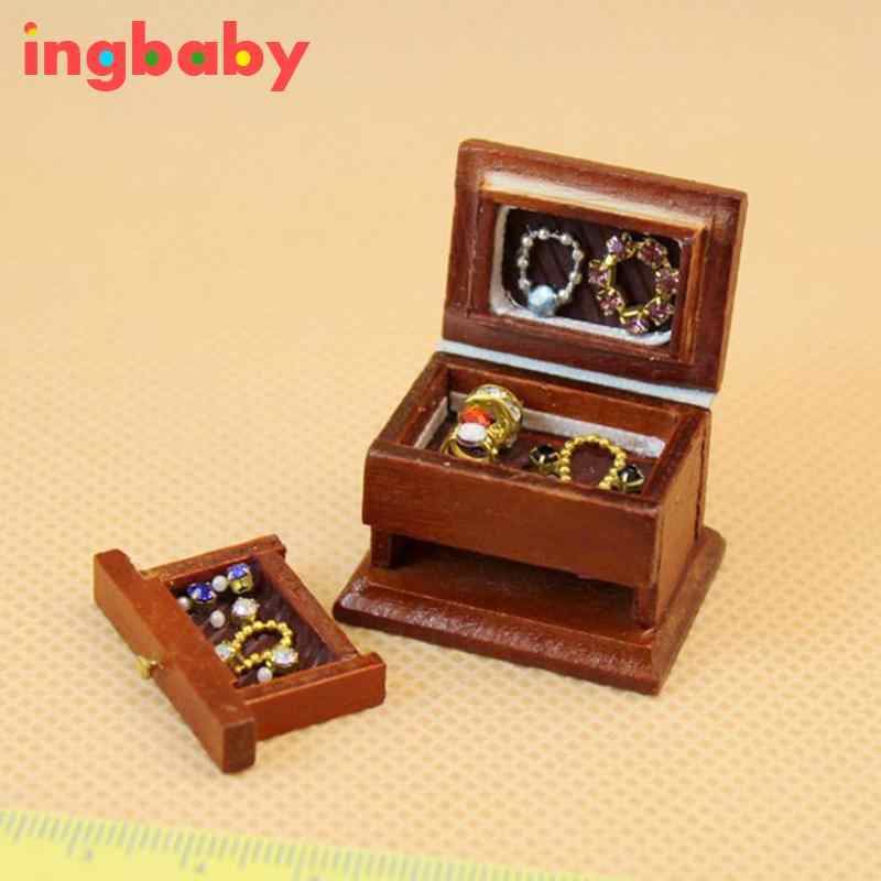 1:12 Dollhouse Boutique Mini Furniture Wooden Jewelry Box DIY Toys Senior Food Chinese Style Retro Jewelry Box WJ921 ingbaby
