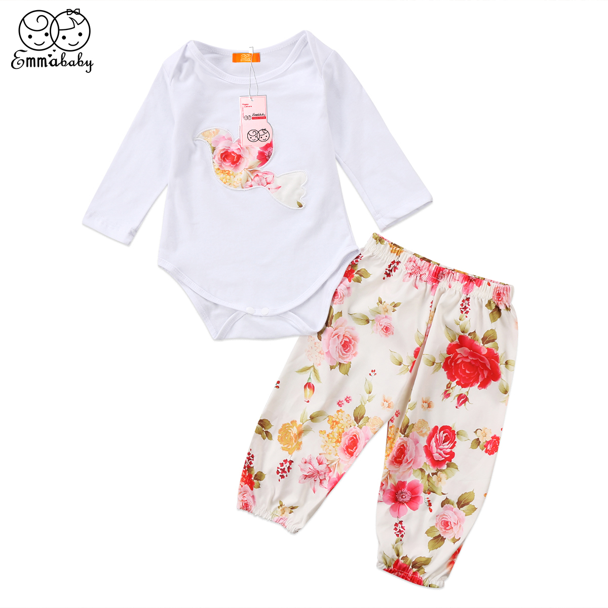 2018 New Fashion Newborn Toddler Girls Bird Floral Print Cotton Bodysuit Floral Pants 2pcs Cute Baby Girl Clothes Outfits Set