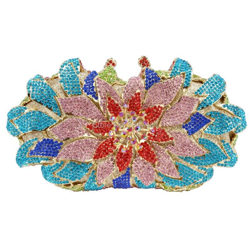 Más nuevo rose forma de la flor piedras Embrague Noche Bolsa Bolsa para el Banqu
