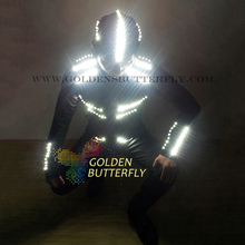 LED Piece Suits Glowing Clothes Luminous Costumes 2015 New Hat Working Men LED Party Catwalk Show Clothing Dance Accessories