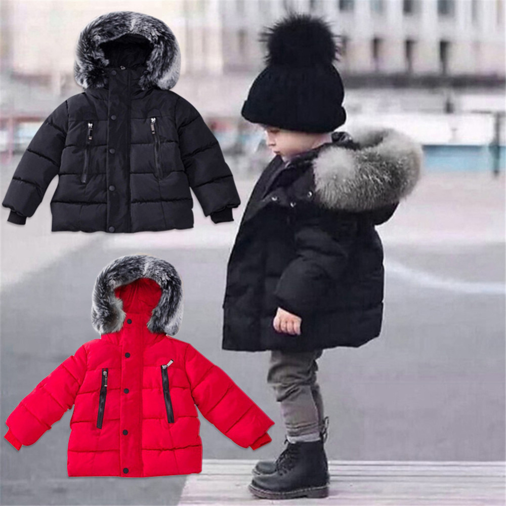 New Baby Boy Winter Warm Coat Hair Collar Warm Quilted Coat Down Jacket Baby Clothes Fashion Jacket for 2-6 Years Kids Boy цена
