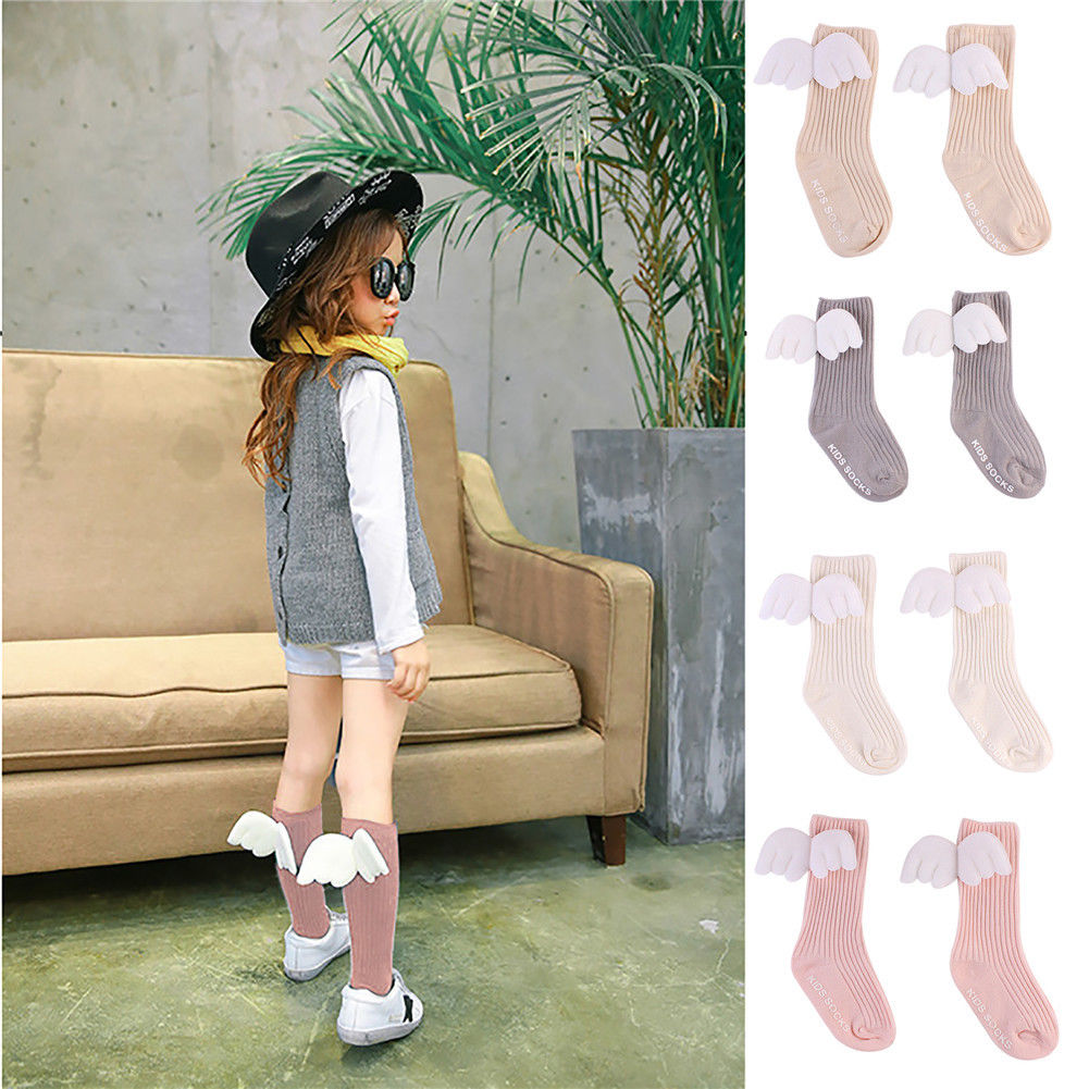 Cute Baby Kids Ruffles Soft Warm Socks Knitted Autumn Winter Angel Wings Knee High Socks White Pink Beige Grey 0-4Y