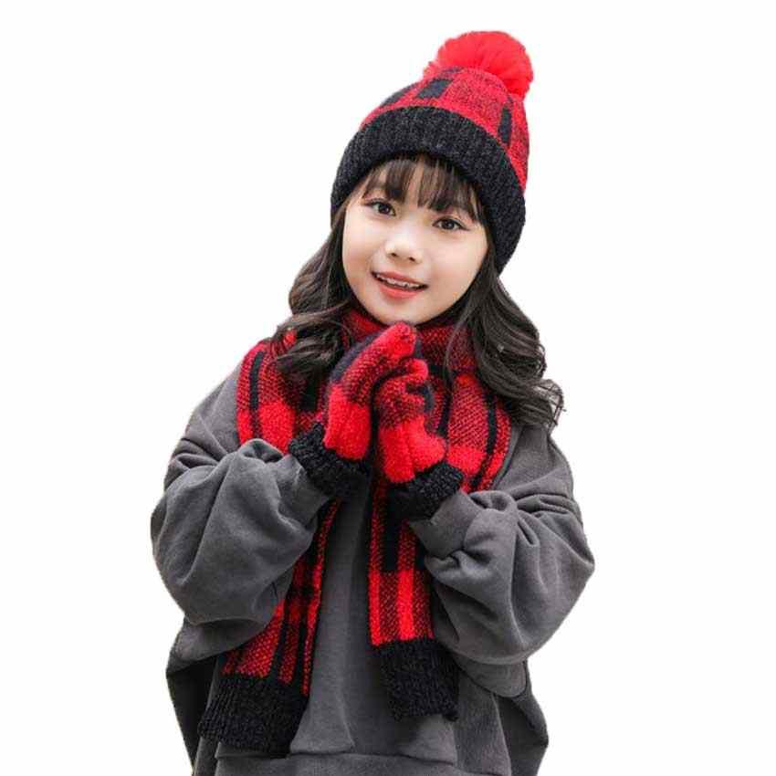 зимний комплект для девочек шапка и шарф детские вязаные шапки шарфы наборы с