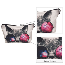 3D Cat Print Cosmetic Bag