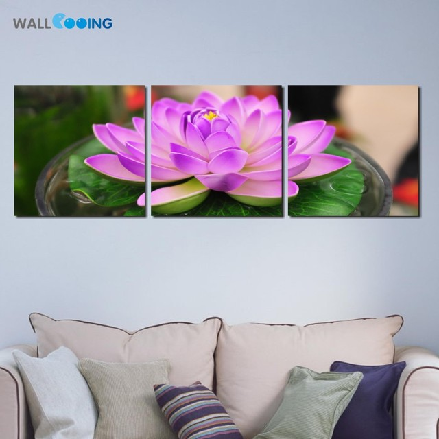 Flower Painting Designs Living Room Pink Modern Decorative Wall Art Pictures Print On Canvas